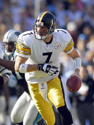 CHARLOTTE, NC - DECEMBER 17:  Ben Roethlisberger #7 of the Pittsburgh Steelers moves back with the ball during the game against the Carolina Panthers December 17, 2006 at Bank of America Stadium in Charlotte, North Carolina. Pittsburgh defeated Carolina 3