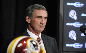 ASHBURN,VA - JANUARY 06:  Mike Shanahan speaks at a press conference introducing him as the new Executive Vice President and Head Coach of the Washington Redskins to the media on January 6, 2010 at Redskins Park in Ashburn, Virginia.  (Photo by Mitchell L