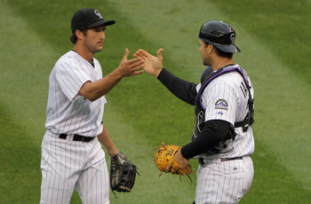 Huston Street and Chris Iannetta celebrate an early season victory for the Colorado Rockies