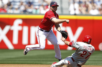 ATLANTA, GA - APRIL 10: Dan Uggla #26 of the Atlanta Braves throws to first to turn a double play over Placido Polanco #27 of the Philadelphia Phillies at Turner Field on April 10, 2011 in Atlanta, Georgia. The Phillies won 3-0. (Photo by Joe Robbins/Gett