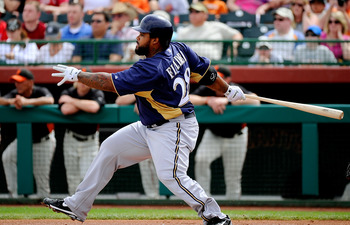 SCOTTSDALE, AZ - MARCH 14:  Prince Fielder#28 of the Milwaukee Brewers at bat against the San Francisco Giants during the spring training baseball game at Scottsdale Stadium on March 14, 2011 in Scottsdale, Arizona.  (Photo by Kevork Djansezian/Getty Imag