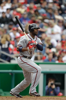 WASHINGTON, DC - APRIL 03:  Jason Heyward #22 of the Atlanta Braves at bat against the Washington Nationals at Nationals Park on April 3, 2011 in Washington, DC.  (Photo by Rob Carr/Getty Images)