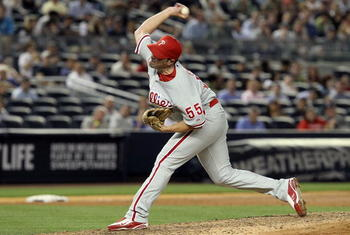 NEW YORK - JUNE 15:  Danys Baez #55 of the Philadelphia Phillies delivers a pitch against the New York Yankees on June 15, 2010 at Yankee Stadium in the Bronx borough of New York City.  (Photo by Jim McIsaac/Getty Images)