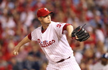 PHILADELPHIA - SEPTEMBER 25: Starting pitcher Kyle Kendrick #38 of the Philadelphia Phillies throws a pitch during a game against the New York Mets at Citizens Bank Park on September 25, 2010 in Philadelphia, Pennsylvania. (Photo by Hunter Martin/Getty Im