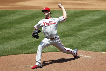 ATLANTA, GA - APRIL 10: Cole Hamels #35 of the Philadelphia Phillies pitches against the Atlanta Braves at Turner Field on April 10, 2011 in Atlanta, Georgia. The Phillies won 3-0. (Photo by Joe Robbins/Getty Images)
