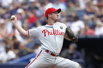 ATLANTA, GA - APRIL 9: Roy Oswalt #44 of the Philadelphia Phillies pitches against the Atlanta Braves at Turner Field on April 9, 2011 in Atlanta, Georgia. The Phillies won 10-2. (Photo by Joe Robbins/Getty Images)