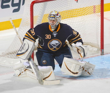 BUFFALO, NY - FEBRUARY 23: Ryan Miller #30 of the Buffalo Sabres plays in goal  against the Atlanta Thrashers at HSBC Arena on February 23, 2011 in Buffalo, New York. Buffalo won 4-1.  (Photo by Rick Stewart/Getty Images)