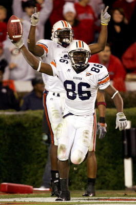 ATHENS, GA - NOVEMBER 12:  Courtney Taylor #86 of the Auburn Tigers celebrates after recovering a fumble for a touchdown against the Georgia Bulldogs during their game on November 12, 2005 at Sanford Stadium in Athens, Georgia.  (Photo By Streeter Lecka)