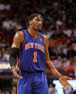 MIAMI, FL - FEBRUARY 27:  Amar'e Stoudemire #1 of the New York Knicks argues a call during a game against the the Miami Heat at American Airlines Arena on February 27, 2011 in Miami, Florida. NOTE TO USER: User expressly acknowledges and agrees that, by d