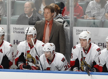 SUNRISE, FL - MARCH 31: Head coach Cory Clouston of the Ottawa Senators watches action against the Florida Panthers on March 31, 2011 at the BankAtlantic Center in Sunrise, Florida. The Senators defeated the Panthers 4-1. (Photo by Joel Auerbach/Getty Ima