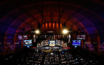 NEW YORK - APRIL 22:  A general view of the stage during the 2010 NFL Draft at Radio City Music Hall on April 22, 2010 in New York City.  (Photo by Jeff Zelevansky/Getty Images)