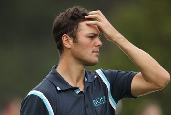 AUGUSTA, GA - APRIL 08:  Martin Kaymer of Germany reacts on the 18th hole during the second round of the 2011 Masters Tournament at Augusta National Golf Club on April 8, 2011 in Augusta, Georgia.  (Photo by Andrew Redington/Getty Images)
