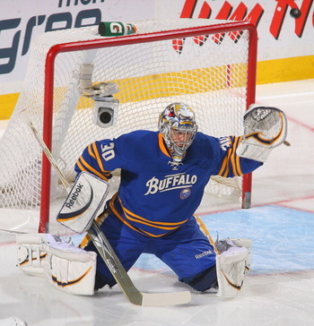 BUFFALO, NY - MARCH 15: Ryan Miller #30 of the Buffalo Sabres plays goal  against the Carolina Hurricanes at HSBC Arena on March 15, 2011 in Buffalo, New York. Carolina won 1-0.  (Photo by Rick Stewart/Getty Images)
