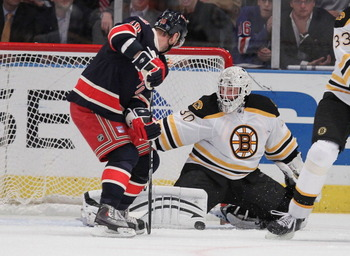 NEW YORK - NOVEMBER 17:  Marian Gaborik #10 of the New York Rangers has his shot blocked by Tim Thomas #30 of the Boston Bruins makes a save during their game on November 17, 2010 at Madison Square Garden in New York City.  (Photo by Al Bello/Getty Images