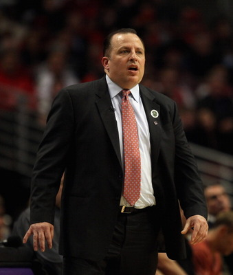 CHICAGO, IL - APRIL 07: Head coach Tom Thibodeau of the Chicago Bulls watches as his team takes on the Boston Celtics at United Center on April 7, 2011 in Chicago, Illinois. The Bulls defeated the Celtics 97-81. NOTE TO USER: User expressly acknowledges a