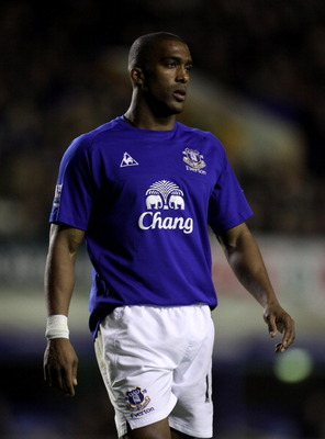 LIVERPOOL, ENGLAND - MARCH 09:   Sylvain Distin of Everton looks on during the Barclays Premier League match between Everton and Birmingham City at Goodison Park on March 9, 2011 in Liverpool, England. (Photo by Alex Livesey/Getty Images)