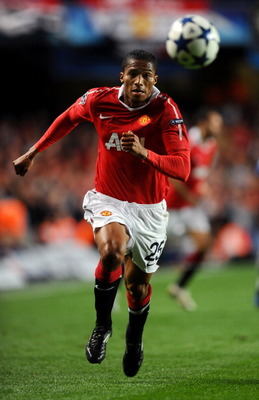 LONDON, ENGLAND - APRIL 06:  Antonio Valencia of Manchester United chases the ball during the UEFA Champions League quarter final first leg match between Chelsea and Manchester United at Stamford Bridge on April 6, 2011 in London, England.  (Photo by Mike
