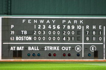 BOSTON - OCTOBER 16:  The final scoreboard is seen after the Boston Red Sox defeated the Tampa Bay Rays after game five of the American League Championship Series during the 2008 MLB playoffs at Fenway Park on October 16, 2008 in Boston, Massachusetts. Th