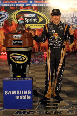 FORT WORTH, TX - APRIL 09:  Matt Kenseth, driver of the #17 Crown Royal Black Ford, posess in victory lane after winning the NASCAR Sprint Cup Series Samsung Mobile 500 at Texas Motor Speedway on April 9, 2011 in Fort Worth, Texas.  (Photo by Jason Smith/