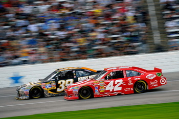 FORT WORTH, TX - APRIL 09:  Ryan Newman, driver of the #39 U.S. Army Reserve Chevrolet, races Juan Pablo Montoya, driver of the #42 Target Chevrolet, during the NASCAR Sprint Cup Series Samsung Mobile 500 at Texas Motor Speedway on April 9, 2011 in Fort W