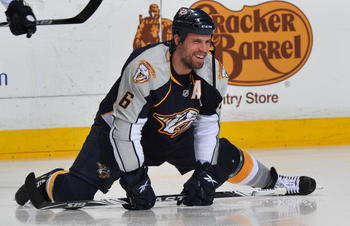 NASHVILLE, TN - APRIL 26:  Shea Weber #6 of the Nashville Predators stretches prior to a game against the Chicago Blackhawks in Game Six of the Western Conference Quarterfinals during the 2010 NHL Stanley Cup Playoffs at Bridgestone Arena on April 26, 201