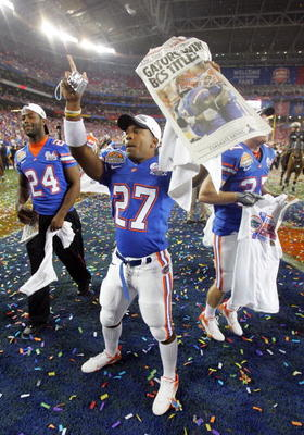 GLENDALE, AZ - JANUARY 08:  Telly Concepcion#27 of the Florida Gators celebrates after defeating the Ohio State Buckeyes after the 2007 Tostitos BCS National Championship Game at the University of Phoenix Stadium on January 8, 2007 in Glendale, Arizona. T
