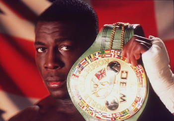 LONDON - NOVEMBER:  (FILE PHOTO) World Boxing Council heavyweight champion Frank Bruno of Great Britain poses with the WBC belt in this moody studio portrait taken in November 1995.  On September 22, 2003, the former world heavyweight boxing champion was