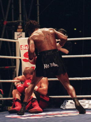 2 SEP 1995:  CHAMPION NIGEL BENN OF ENGLAND KNOCKS OUT DANNY RAY PEREZ DURING THE SEVENTH ROUND OF THEIR WBC SUPER-MIDDLEWEIGHT CHAMPIONSHIP FIGHT AT WEMBLEY STADIUM, LONDON.   Mandatory Credit: John Gichigi/ALLSPORT