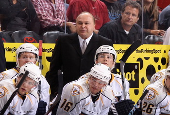 GLENDALE, AZ - NOVEMBER 03:  Head coach Barry Trotz of the Nashville Predators during the NHL game against the Phoenix Coyotes at Jobing.com Arena on November 3, 2010 in Glendale, Arizona.  The Coyotes defeated the Predators 4-3.  (Photo by Christian Pete
