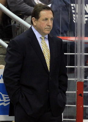 WASHINGTON DC, DC - APRIL 23: Head Coach Jacques Martin of the Montreal Canadiens looks on against the Washington Capitals in Game Five of the Eastern Conference Quarterfinals during the 2010 NHL Stanley Cup Playoffs at the Verizon Center on April 23, 201