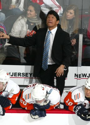 NEWARK, NJ - FEBRUARY 23: Head coach Ted Nolan of the New York Islanders behind the bench in his game against the New Jersey Devils on February 23, 2008 at the Prudential Center in Newark, New Jersey. The Devils defeated the Islanders 4-2.  (Photo by Bruc