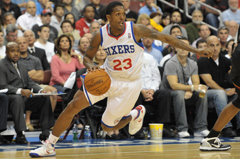 PHILADELPHIA - OCTOBER 27: Lou Williams #23 of the Philadelphia 76ers in action during the game against the Miami Heat at the Wells Fargo Center on October 27, 2010 in Philadelphia, Pennsylvania. NOTE TO USER: User expressly acknowledges and agrees that,
