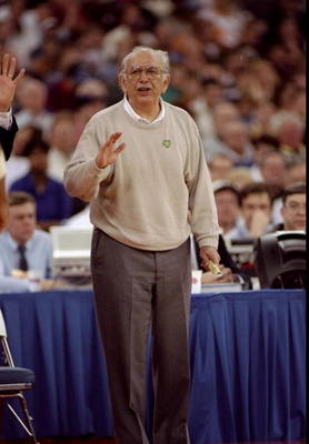 14 Mar 1996: Coach Pete Carril of the Princeton Tigers looks on during a game against the UCLA Bruins at the RCA Dome in Indianapolis, Indiana. Princeton won the game, 43-41.