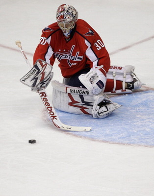 WASHINGTON, DC - FEBRUARY 25:  Goalie Michal Neuvirth #30 of the Washington Capitals against the New York Rangers at the Verizon Center on February 25, 2011 in Washington, DC. The Rangers won 6-0.  (Photo by Rob Carr/Getty Images)