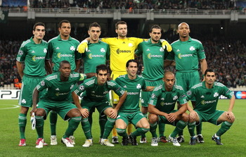 ATHENS, GREECE - NOVEMBER 24:  Team Panathinaikos poses for a team photo ahead the UEFA Champions League Group D match between Panathinaikos FC and FC Barcelona at OAKA Spiros Louis Stadium on November 24, 2010 in Athens, Greece.  (Photo by Vladimir Rys/G