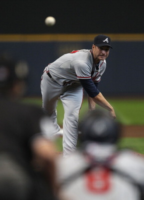 MILWAUKEE, WI - APRIL 04: Starting pitcher Brandon Beachy #37 of the Atlanta Braves delivers the ball against the Milwaukee Brewers during the home opener at Miller Park on April 4, 2011 in Milwaukee, Wisconsin. The Braves defeated the Brewers 2-1. (Photo