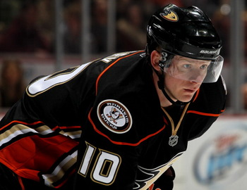 ANAHEIM, CA - APRIL 08:  Corey Perry #10 of the Anaheim Ducks sets for a face off against the Los Angeles Kings at Honda Center on April 8, 2011 in Anaheim, California. The Ducks won 2-1 to clinch a berth in the playoffs.  (Photo by Stephen Dunn/Getty Ima