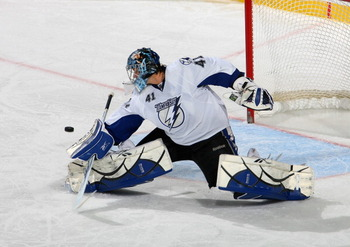 BUFFALO, NY - NOVEMBER 20:  Mike Smith #41 of the Tampa Bay Lightning plays against the Buffalo Sabres at HSBC Arena on November 20, 2010 in Buffalo, New York. Tampa Bay won 2-1. (Photo by Rick Stewart/Getty Images)
