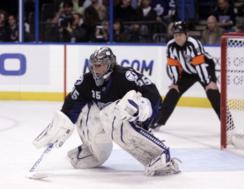 TAMPA, FL - JANUARY 25: Dwayne Roloson #35 of the Tampa Bay Lightning skates against the Toronto Maple Leafs at St. Pete Times Forum on January 25, 2011 in Tampa, Florida. The Lightning defeated the Leafs 2-0. (Photo by Justin K. Aller/Getty Images)
