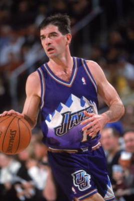 30 Jan 2001:  John Stockton #12 of the Utah Jazz moves with the ball during the game against the Seattle SuperSonics at Key Arena in Seattle, Washington.  The Jazz defeated the Sonics 102-88.  NOTE TO USER: It is expressly understood that the only rights