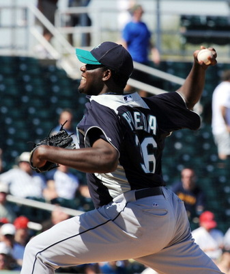 GOODYEAR, AZ - MARCH 11:  Michael Pineda #36 of the Seattle Mariners delivers a pitch against the Cleveland Indians at Goodyear Ballpark on March 11, 2011 in Goodyear, Arizona.  (Photo by Norm Hall/Getty Images)