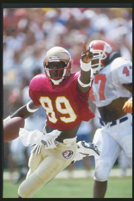 11 Sep 1993:  Wide receiver Wayne Messam of the Florida State Seminoles runs down the field during a game against the Clemson Tigers at Doak S. Campbell Stadium in Tallahassee, Florida.  Mandatory Credit: Scott Halleran  /Allsport