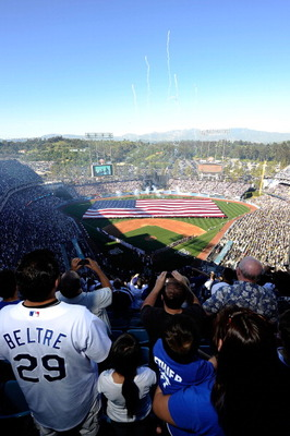 LOS ANGELES, CA - MARCH 31:  A view of pregame ceremonies prior to the Los Angeles Dodgers playing the San Francisco Giants on Opening Day at Dodger Stadium on March 31, 2011 in Los Angeles, California.  (Photo by Kevork Djansezian/Getty Images)