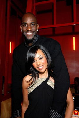 LAS VEGAS - FEBRUARY 17:  Kevin Garnett, and wife Brandi attend the NBA All-Star Weekend Party hosted by GQ Magazine and Steve Nash of the Phoenix Suns in the VBar at the Venetian Hotel on February 17, 2007 in Las Vegas, Nevada.  (Photo by Steve Spatafore