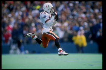 1 Jan 1991:  Darryl Spencer of the Miami Hurricanes runs down the field during the Cotton Bowl against the Texas Longhorns at the Cotton Bowl in Dallas, Texas.  Miami won the game 46-3. Mandatory Credit: Joe Patronite  /Allsport