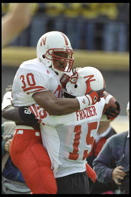 28 Oct 1995: Nebraska Cornhuskers players Ahman Green and Tommie Frazier celebrate during a game against the Colorado Buffaloes at Folsom Field in Boulder, Colorado. Nebraska won the game, 44-21.
