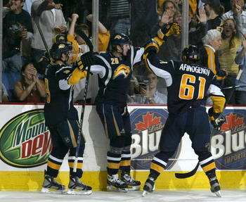 BUFFALO, NY - OCTOBER 05: Thomas Vanek #26 of the Buffalo Sabres celebrate scoring against the New York Islanders with teamates Maxim Afinogenov #61 and Derek Roy #9 on October 5, 2007 at HSBC Arena in Buffalo, New York.  (Photo by Rick Stewart/Getty Imag