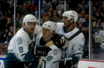 21 Oct 1998: Rightwinger Teemu Selanne #8, leftwinger Paul Kariya #9 and center Steve Rucchin #20 of the Anaheim Mighty Ducks in action during a game against the Boston Bruins at the Arrowhead Pond in Anaheim, California. The Ducks defeated the Bruins 3-0