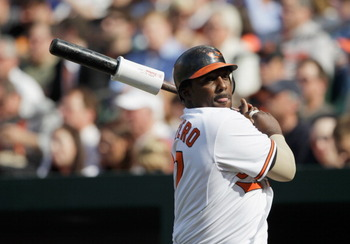 BALTIMORE, MD - APRIL 04:  Batter Vladimir Guerrero #27 of the Baltimore Orioles in the on deck circle against the Detroit Tigers during opening day at Oriole Park at Camden Yards on April 4, 2011 in Baltimore, Maryland.  (Photo by Rob Carr/Getty Images)