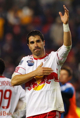 HARRISON, NJ - NOVEMBER 04:  Juan Pablo Angel #9 of the New York Red Bulls salutes the crowd after losing to the San Jose Earthquakes 3-1 during the 2nd Leg of the MLS playoffs on November 4, 2010 at Red Bull Arena in Harrison, New Jersey.  (Photo by Mike